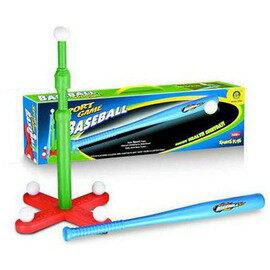 【兒童棒球套裝-棒球打擊T架塑膠組-3件/套-1套/組】塑膠棒球套裝棒球打擊T座打擊練習器(棒長62.5、T架高62.5、球直徑5cm)-56005