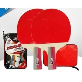【乒乓球拍-橫直拍-初學套裝-雙面反膠-1套/組】乒乓球拍 套裝 學生練習成品拍 直橫拍兒童乒乓拍(1袋2拍3球)-56014