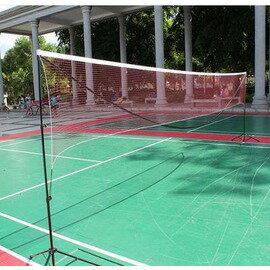 【可攜式多功能網架-5.1米單打型-鋁管+尼龍球網-5.1*1.55米-1套/組】折疊標準羽毛球網 移動 送吸汗帶穩定鉤-56007