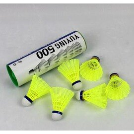~ 尼龍羽球~M500~複合軟木球頭~6顆 筒~1筒 組~塑膠尼龍羽毛球 超耐打 6顆裝