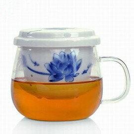 ~青花玻璃茶杯~佳妍  花濃~一壺一杯  套~200ml~1套  組~青花耐熱玻璃杯陶瓷內