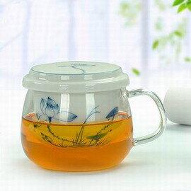 ~青花玻璃茶杯~荷花 夏露~一壺一杯 套~320ml~1套 組~青花手繪內膽過濾陶瓷玻璃茶
