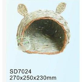 【草窩-天然葦草-兔頭-272523-2個/組】保暖兔頭草屋,27*25*23cm-79023