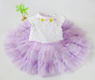 EMMA商城~歐美原單夏季嬰兒紫羅蘭蓬蓬裙純棉哈衣裙短袖包屁裙(3M~24M)