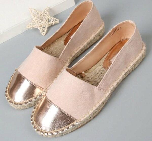Pyf♥金屬絨面拼接草編麻繩底樂福鞋懶人鞋休閒鞋舒適平底鞋42大尺碼女鞋