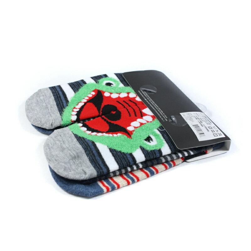 SKECHERS 襪子三入 藍/黑/灰 動物圖案印刷 兒童短襪 S113932-462 noB35