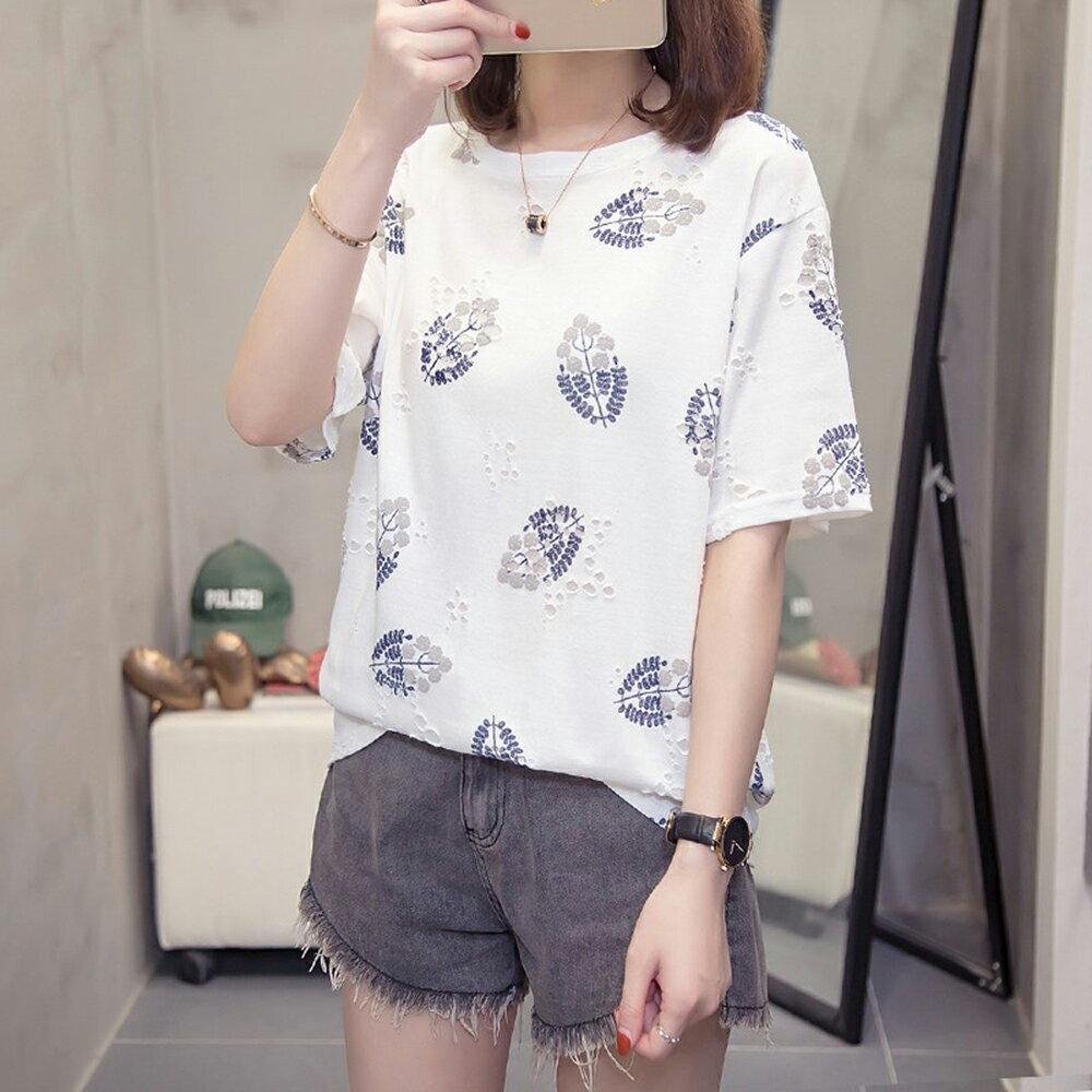 圓領寬鬆印花大碼T恤(2色L~4XL)【OREAD】 0