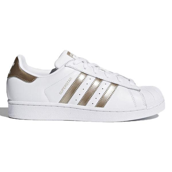 AdidasSuperstar女鞋休閒復古金標貝殼頭白玫瑰金【運動世界】CG5463