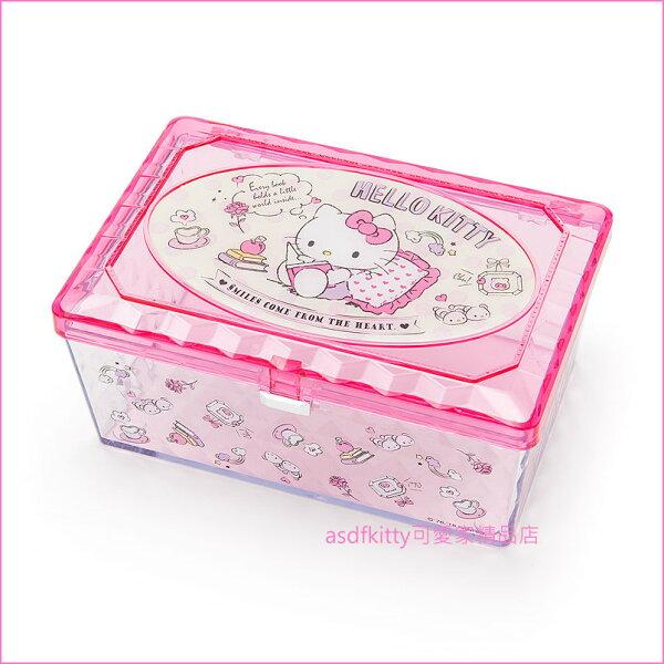 asdfkitty可愛家☆KITTY飾品收納盒置物盒文具盒化妝品收納盒-日本正版商品