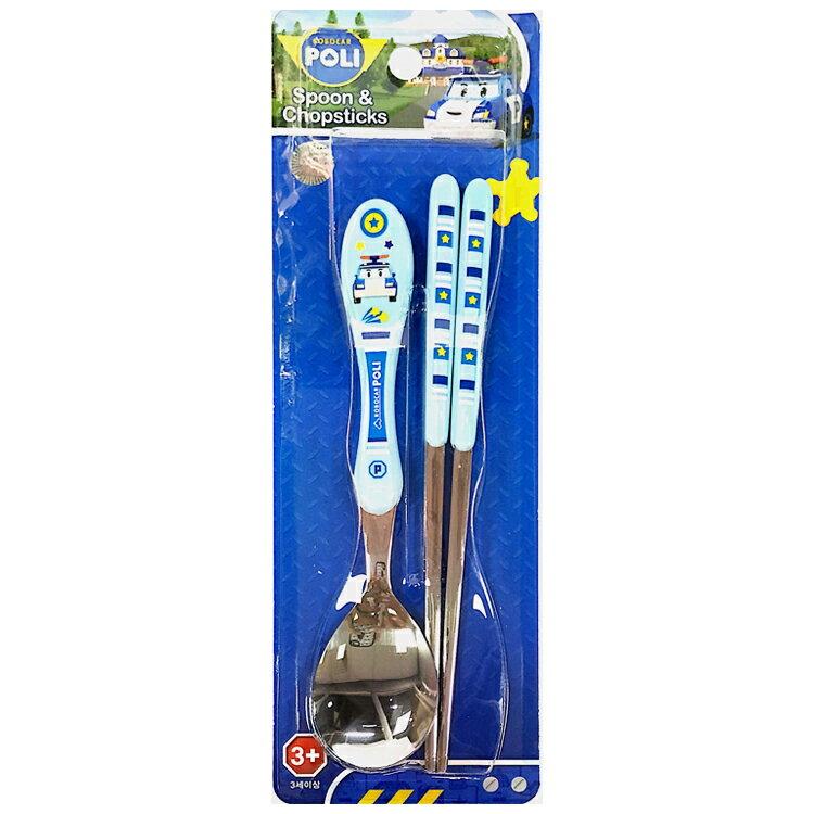 韓國製 POLI 波力 不鏽鋼 兒童餐具組 湯匙筷子 環保餐具 附收納盒 韓國進口正版 702627