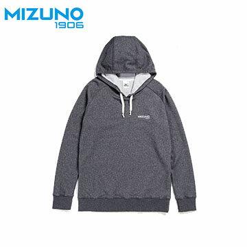 D2TA703108(黑灰) Slim Fit 合身版男針織休閒大學帽T【美津濃MIZUNO】