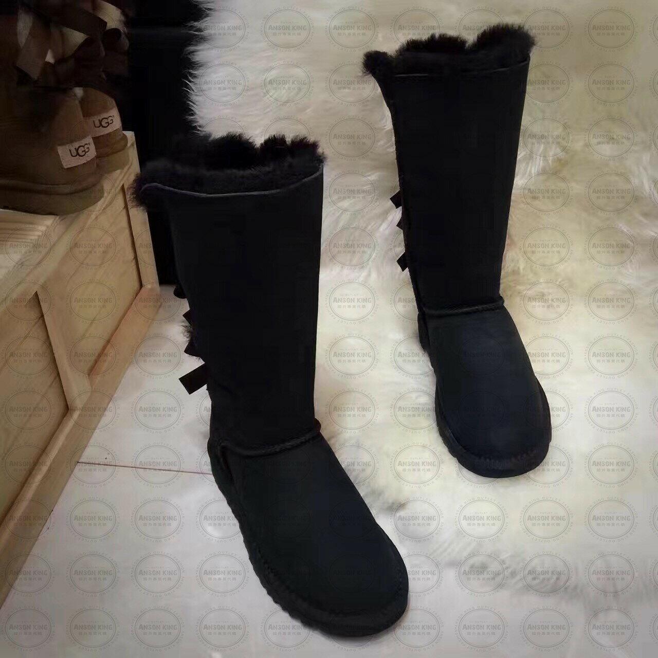 OUTLET正品代購 澳洲 UGG 一體女式絲帶蝴蝶結 保暖 真皮羊皮毛 雪靴 短靴 黑色 0
