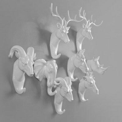 掛勾 動物掛飾-純色環保樹脂美式擺飾6款73pp492【獨家進口】【米蘭精品】 2