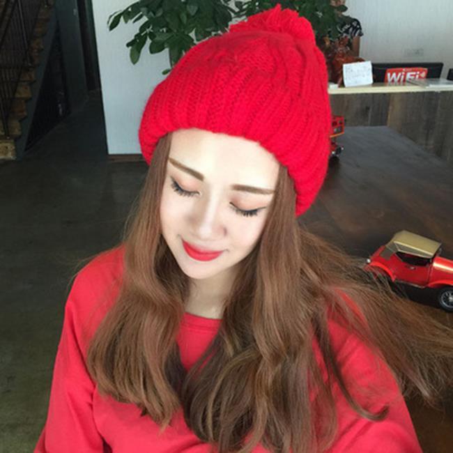 50%OFF【E017544WH】新款毛球粗毛線帽子韓國潮女士秋冬季可愛麻花針織帽套頭帽子