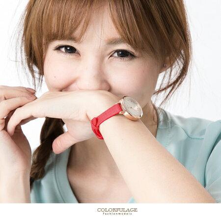 手錶 玫瑰金奧地利水鑽數字腕錶 熱銷色澤 窄板壓紋皮革錶帶點綴 柒彩年代【NE1498】單支