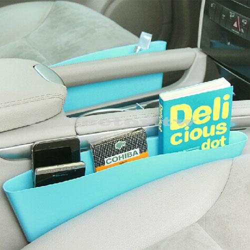 ~T14122901~汽車駕駛座側邊扶手收納盒^(兩個裝^) 縫隙置物盒 汽車扶手儲物盒