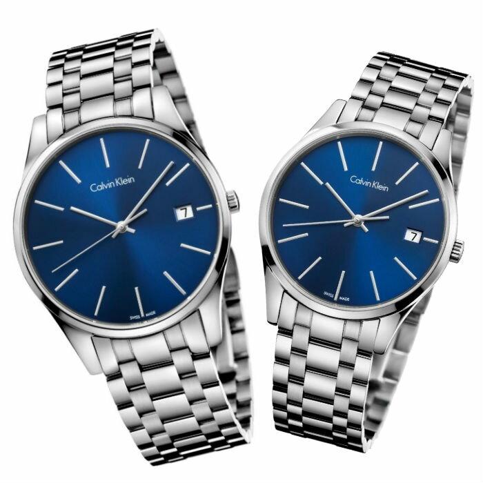 CK 卡文克萊 時光系列(K4N2114N+K4N2314N)經典簡約時尚腕錶 / 藍面40+36mm - 限時優惠好康折扣