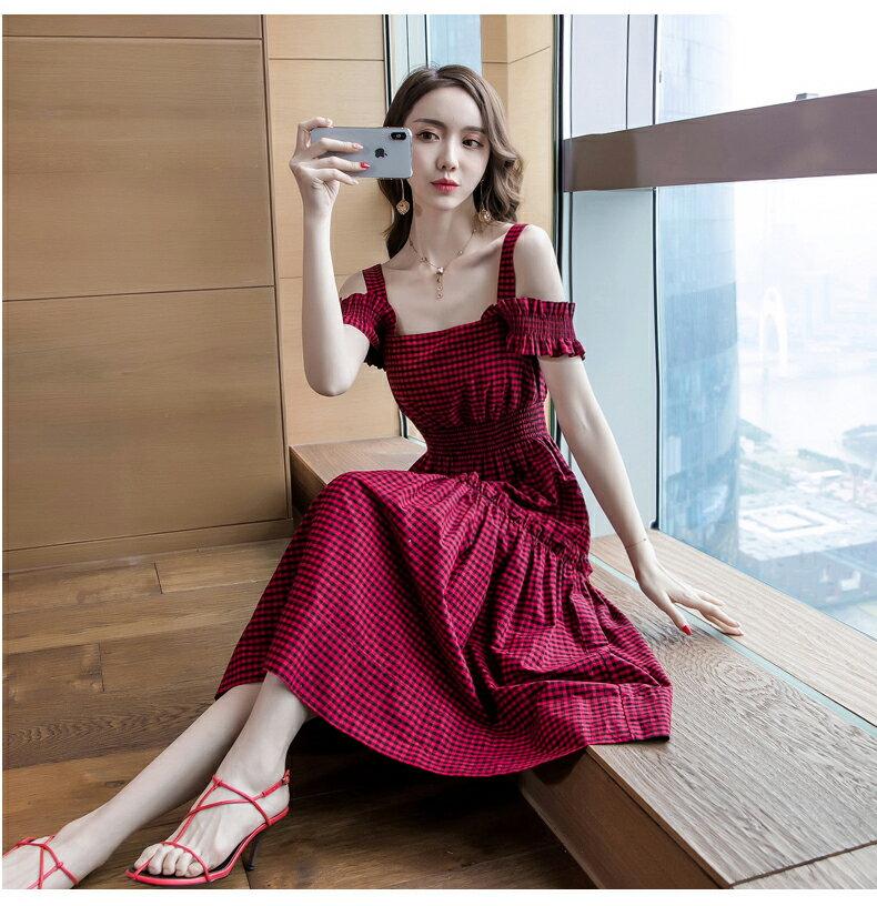 《全店75折》清樣小方格縮腰細肩帶長洋裝(S-XL)- 梅西蒂絲(現貨+預購)