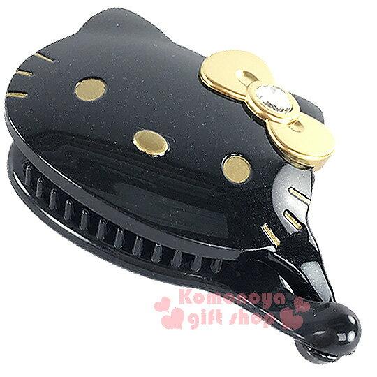 〔小禮堂〕Hello Kitty 造型香蕉夾《黑.大臉.金蝴蝶結》甜美可愛