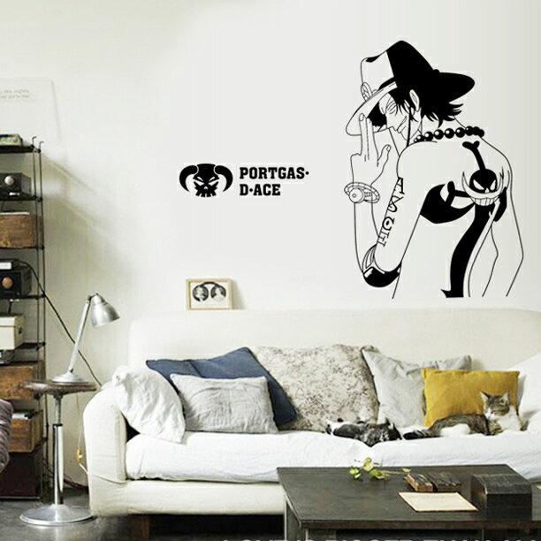 海賊王 航海王 艾斯ACE 背影 無痕設計壁貼 不傷牆面 展覽 布置 創意 DIY 剪影 防水汽車貼