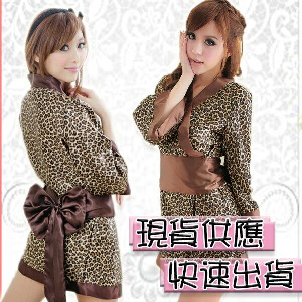 豹紋和服 短版和服 日式 COSPLAY 角色扮演 祭典 舞台 表演服 豹紋 慶典~ C810