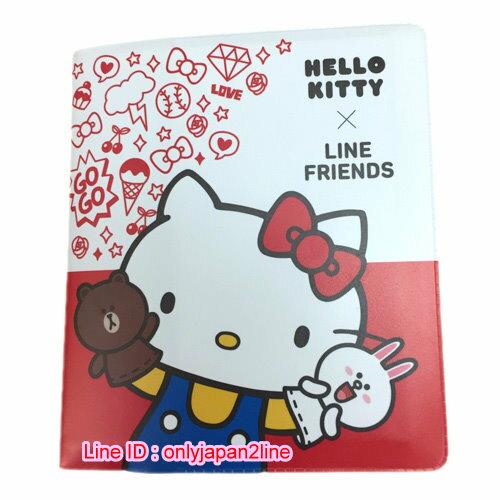 【真愛日本】16111100015皮質名片本48入-KT&LINE  三麗鷗 Hello Kitty 凱蒂貓  名片冊 證件夾