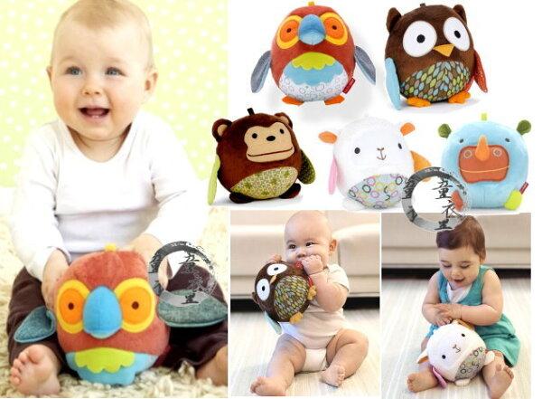 童衣圓【N015】N15動物球安撫球抱抱球可愛動物鈴噹玩偶可掛嬰兒床推車~刺激聽視覺