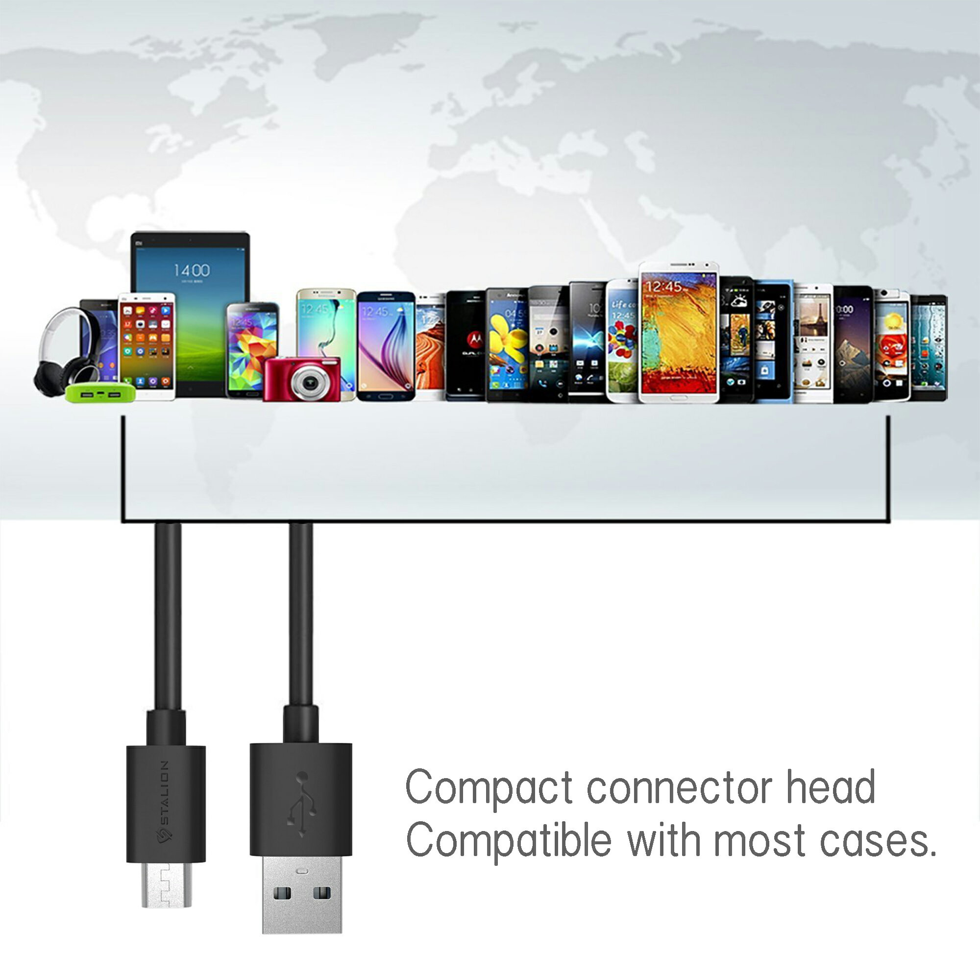 Universal 5-Pack Micro USB Cable Sync Data Charger Cord 8