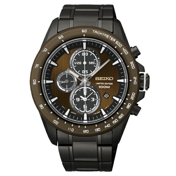 Seiko Spirit 7T92-0SD0SD(SNDG31P1)限量版紳士經典計時腕錶/咖啡面43mm