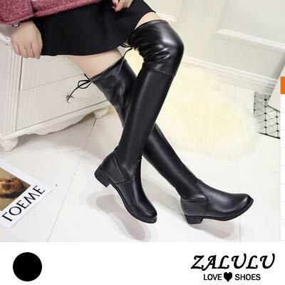 ZALULU爱鞋馆 KE208 清新蝴蝶结配饰素面低跟膝上靴-偏小-黑色-36-39