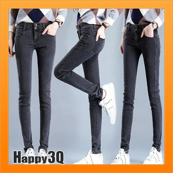 素色牛仔褲百搭基本款破洞牛仔褲收腰提臀顯瘦鉛筆褲子長褲-多色多尺寸【AAA3980】