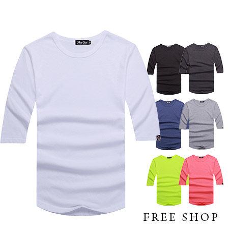 Free Shop~QR05095~美式休閒百搭 款素面圓領棉質七分袖長版短袖上衣‧七色