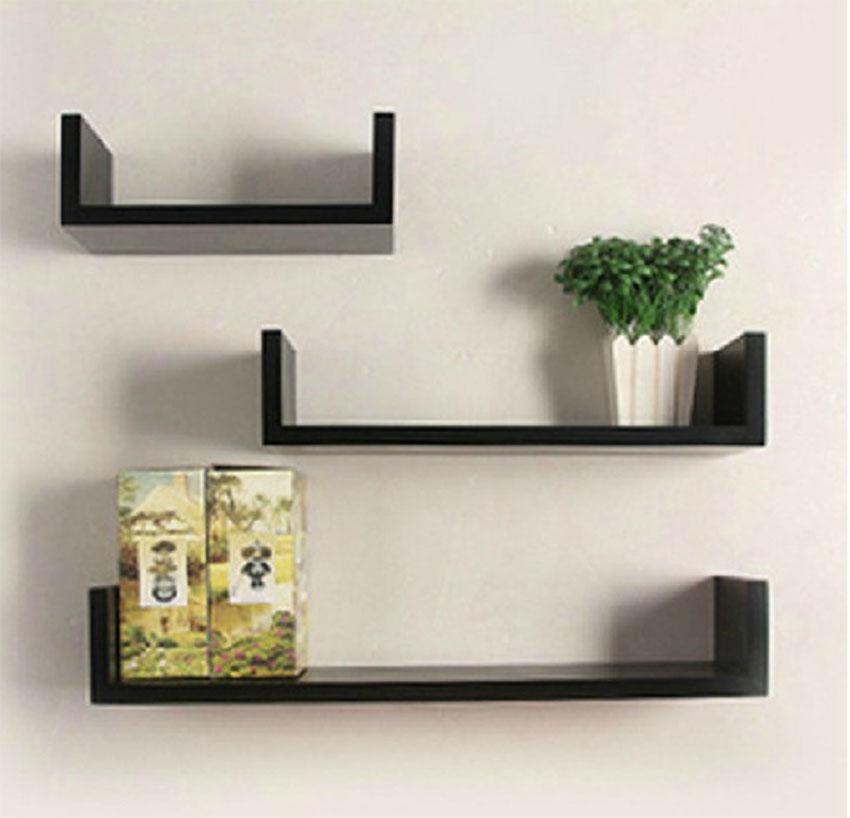 Set of 3 U Shape Floating Wall Shelves Storage Display Shelf Black/White/Red 3