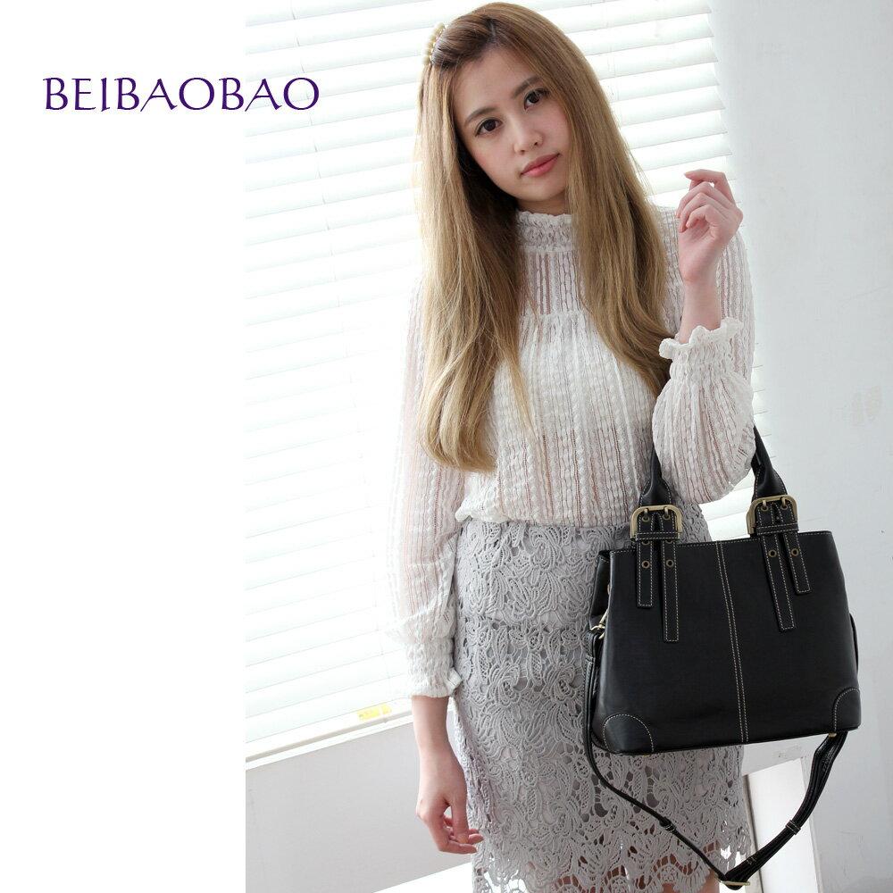 【BEIBAOBAO】東京名媛真皮手提側背包(共兩色  時尚黑) 0