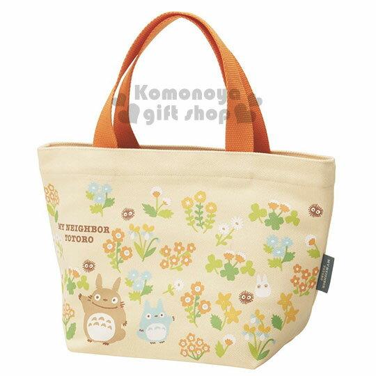 〔小禮堂〕宮崎駿Totoro龍貓 帆布手提袋《小.黃.花朵.朋友滿版》可當便當袋