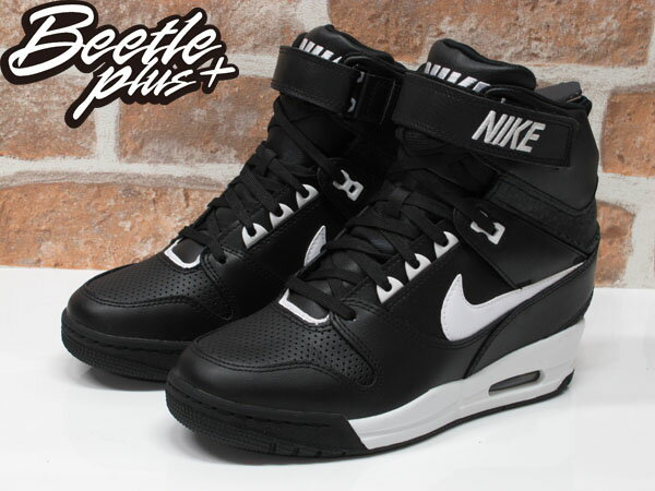 BEETLE PLUS 全新 NIKE WMNS AIR REVOLUTION SKY HI 黑白 皮革 蟾蜍紋 內增高 599410-010 1