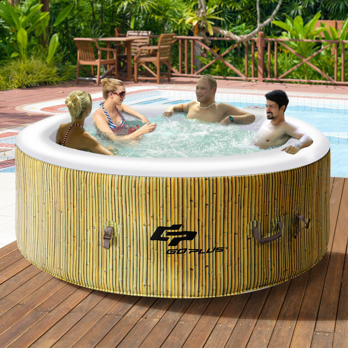 Costway: Goplus 4 Person Inflatable Hot Tub Outdoor Jets Portable ...