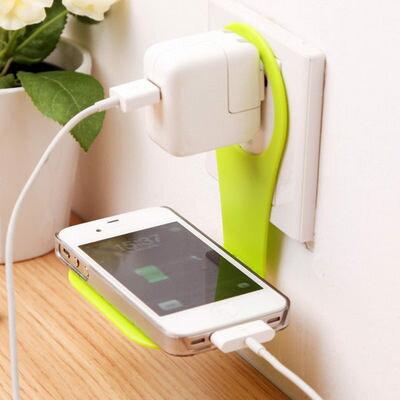 創意便利折疊懸掛手機支架 多功能充電家居伴侶手機充電架【庫奇小舖】不挑色隨機出貨