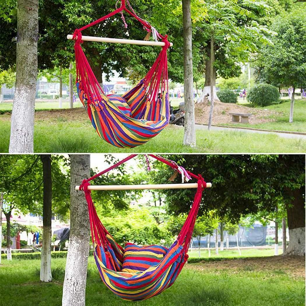Striped Hanging Chair Hammock with Wooden Stretcher - load up to 120 kg Multicolor for Yard, Bedroom 0