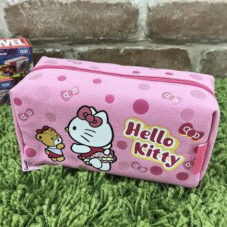 【真愛日本】17090600005 帆布化妝包筆袋-KT屁屁 三麗鷗 kitty 凱蒂貓 鉛筆盒 化妝包 收納包