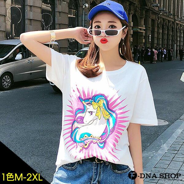 F-DNA★蝴蝶結獨角獸印圖圓領短袖上衣T恤(白-M-2XL)【ET12762】