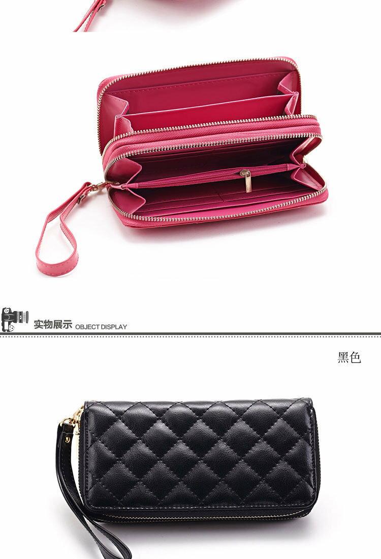 長夾 菱格紋 雙層拉鍊 錢包 卡包 手拿包 長夾【CL8343】 BOBI  01 / 04 7