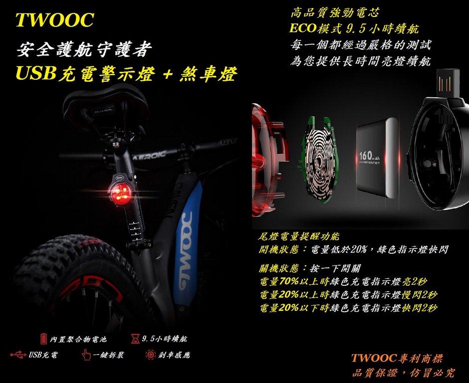 《意生》【USB充電】智能剎車感應尾燈 警示燈 + 煞車燈 TWOOC 單車後燈 腳踏車USB充電燈 自行車尾燈 車尾燈 0
