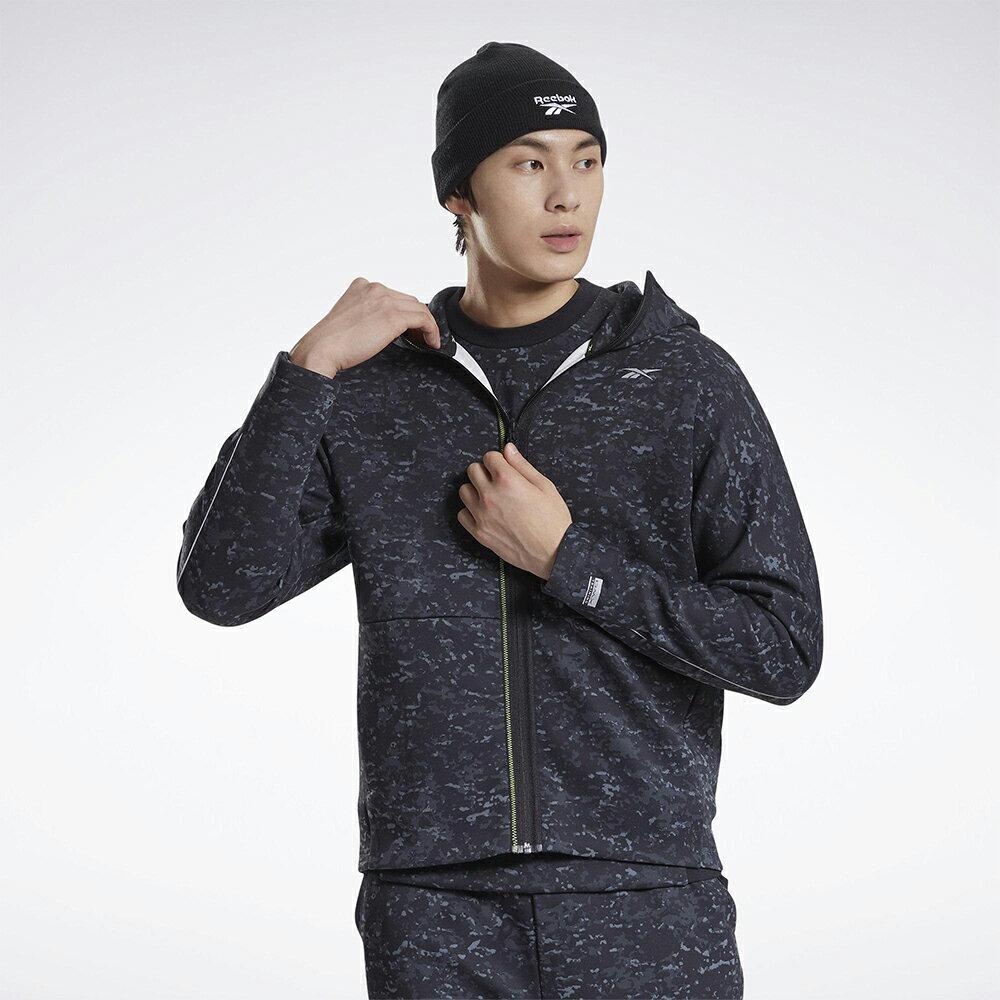 【領券最高折$300】REEBOK DMX Training 男裝 外套 連帽 訓練 休閒 反光設計 迷彩 黑【運動世界】GP6981