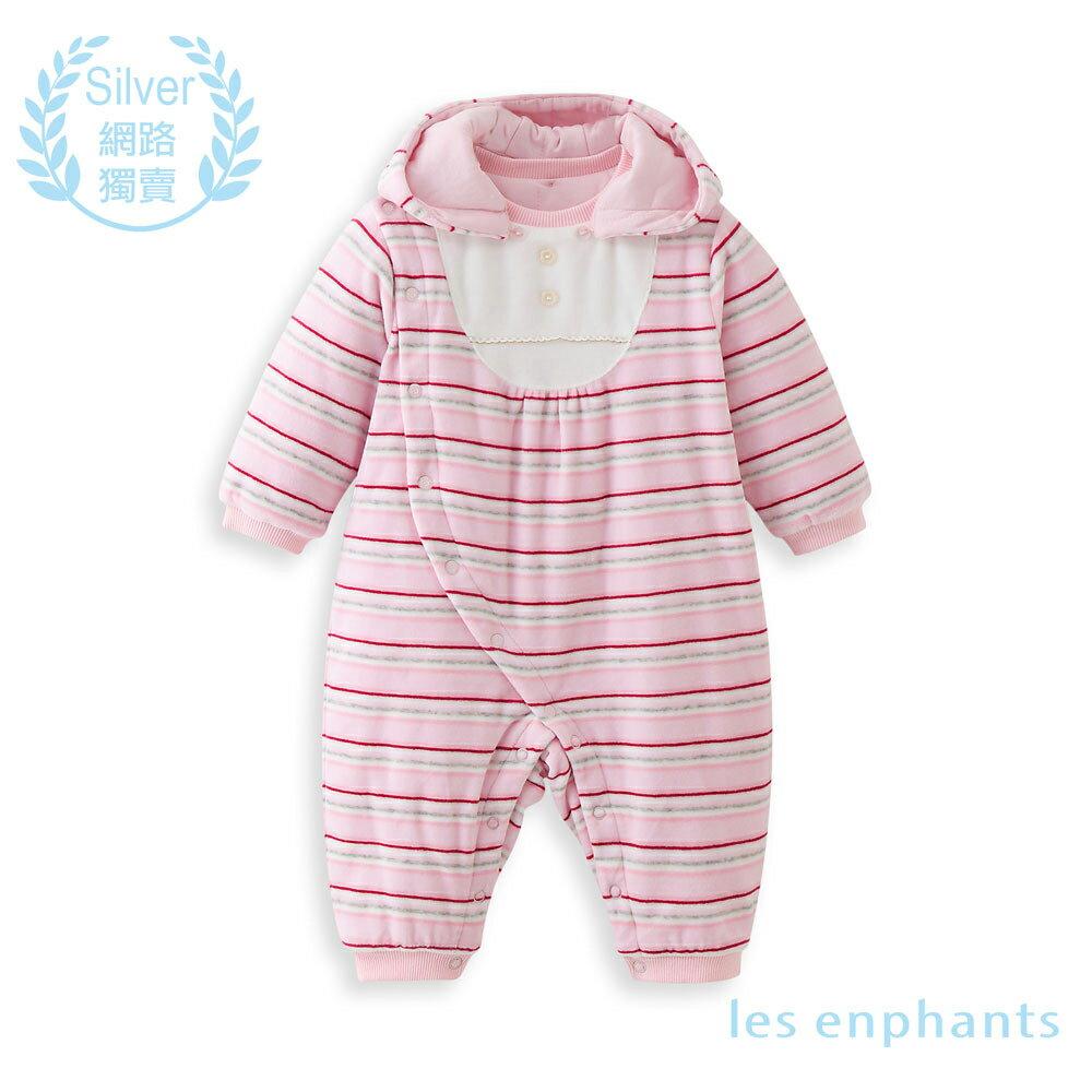 les enphants 嬰幼兒針織連衣褲-淺粉條 - 限時優惠好康折扣