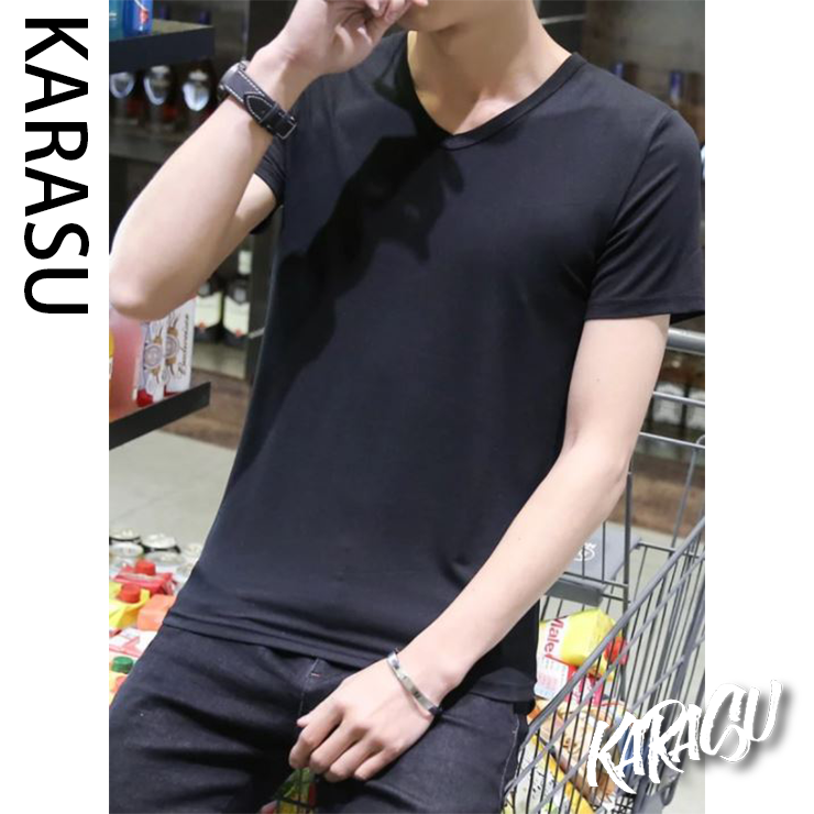 【KARASU】高磅數 V領 素T XS-5XL 素面T恤 素T-shirt
