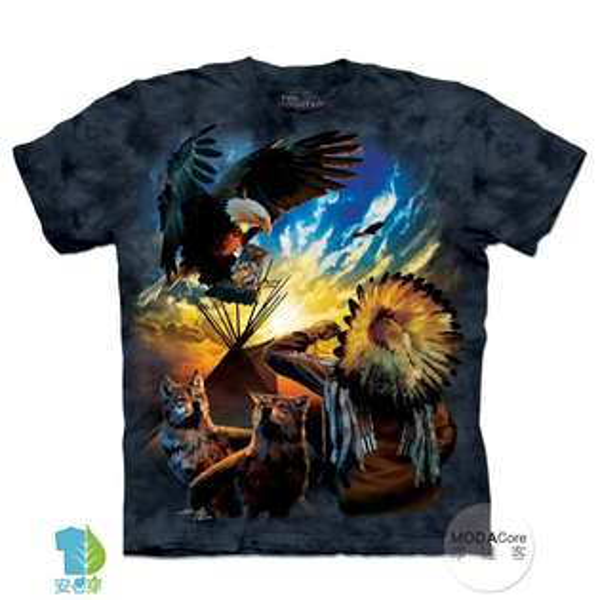 【摩達客】(預購)美國進口TheMountain和平印地安狼與鷹純棉環保藝術中性短袖T恤