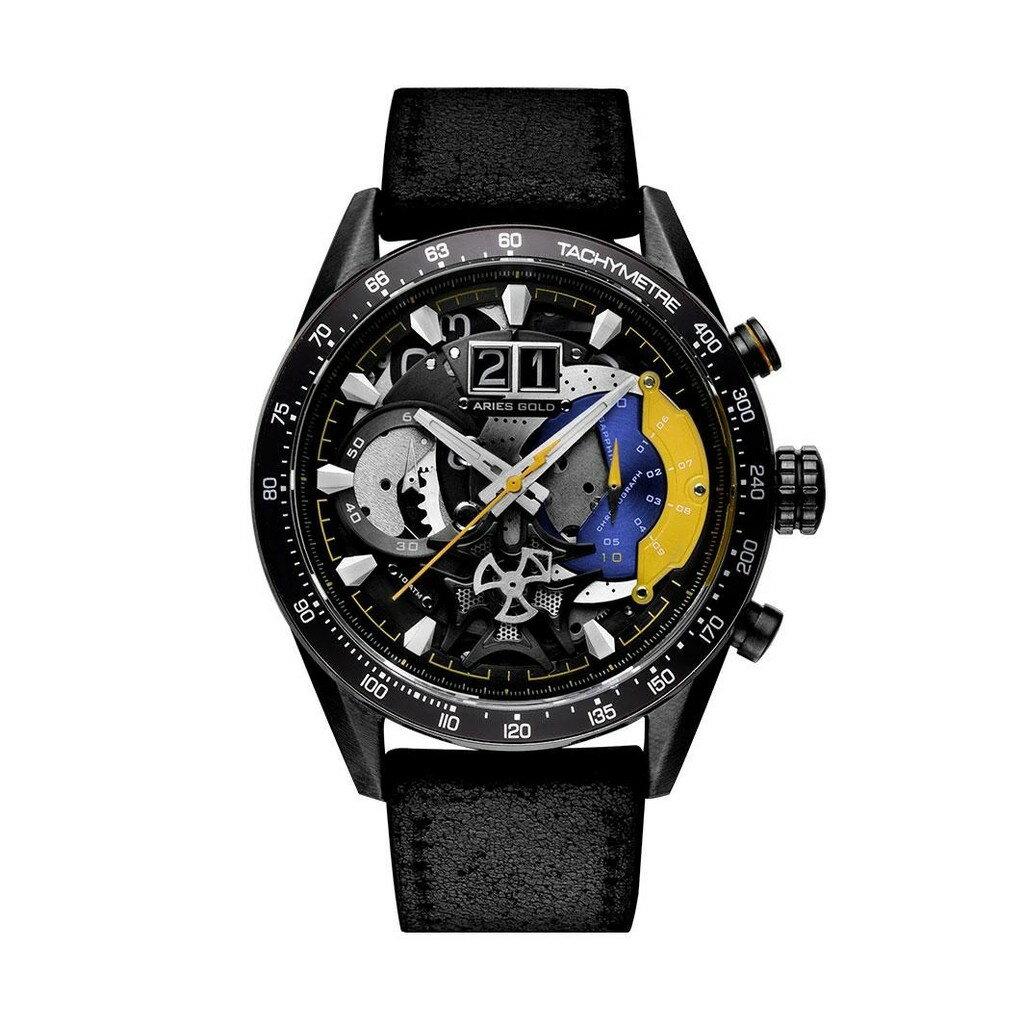 Aries Gold 新加坡品牌 雅力士手錶 JOLTER 皮錶 黑黃  G 7008 BK-YW 【Watch-UN】
