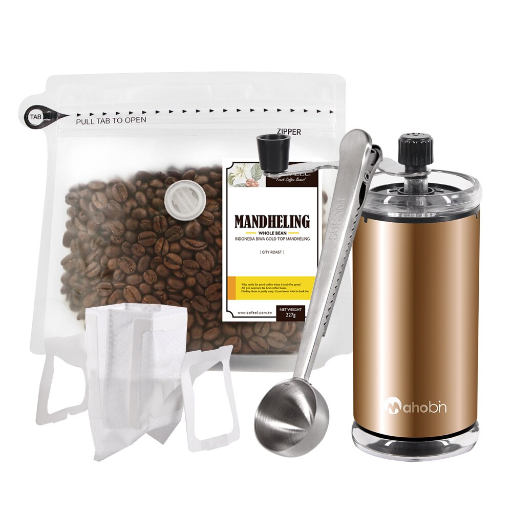 CoFeel 凱飛鮮烘豆黃金曼特寧中深烘焙咖啡豆半磅+魔法瓶手搖磨豆機+咖啡匙夾子+濾掛咖啡袋10入(SO0064LS)
