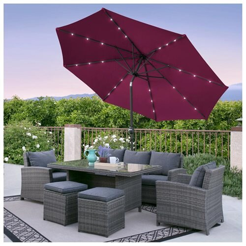 cab3c4d7a51df Best Choice Products 10FT Deluxe Solar LED Lighted Patio Umbrella With Tilt  Adjustment- Burgundy 0